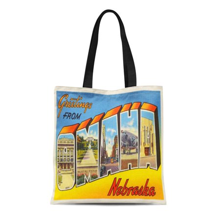 ASHLEIGH Canvas Tote Bag City Omaha Nebraska Ne Old Vintage Travel Greetings Reusable Handbag Shoulder Grocery Shopping Bags](Home Goods Omaha Ne)