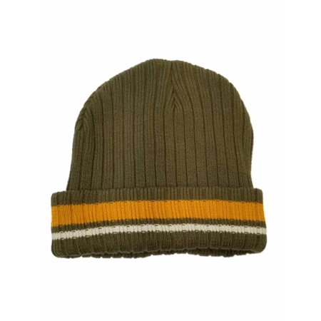 Men's Brown with Mustard and White Stripe Beanie Stocking Cap Hat](Long Stocking Hat)
