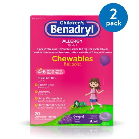 (2 Pack) Children's Benadryl Allergy Chewable Tablets, Grape Flavor, 20 ct