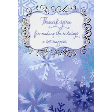 Designer Greetings Blue Snowflakes Christmas Thank You Note Cards (8 Pack) (Thank You Card Snowflake)