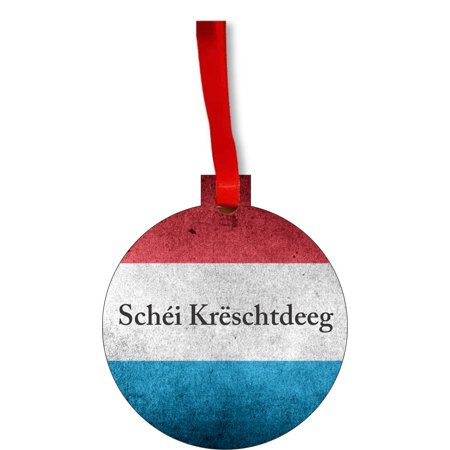 Flag Luxembourg  Round Shaped Flat Hardboard Christmas Ornament Tree Decoration - Unique Modern Novelty Tree Décor Favors ()