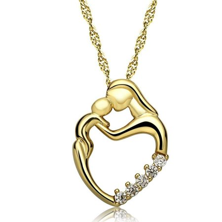 ON SALE - Always In My Heart Mother & Child CZ Necklace (Gold Mother Child Jewelry)