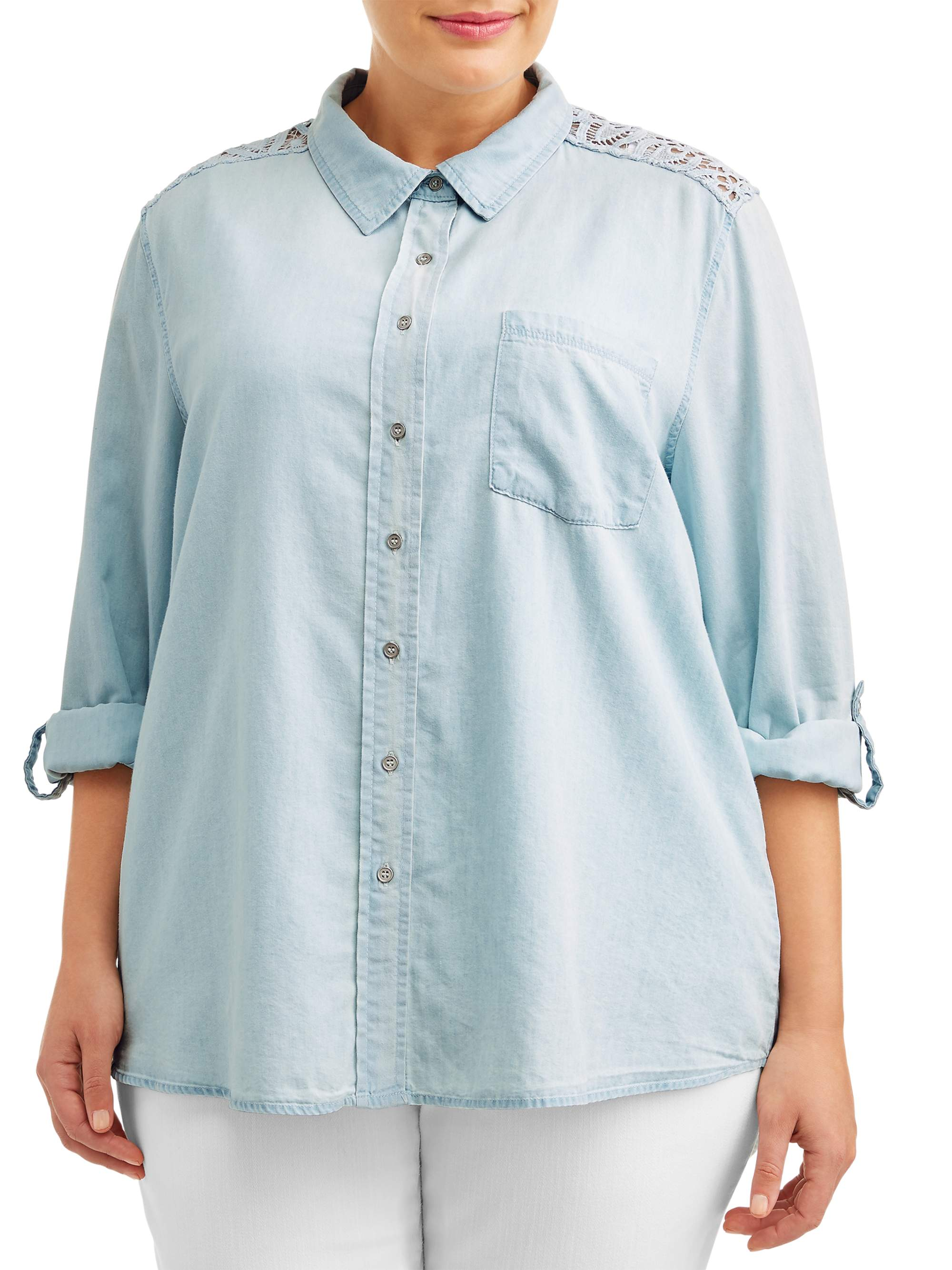 9c7fefd9aad Angels - Women's Plus Size Chambray Collared Shirt with Lace Yoke -  Walmart.com