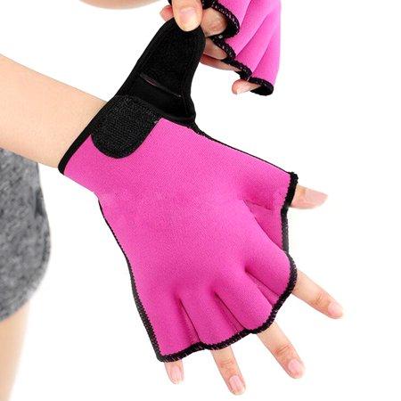 Swim Gloves for Men Women, Diving Finger Fin Surfing Swimming Training Fingerless Gloves Color:Rose red