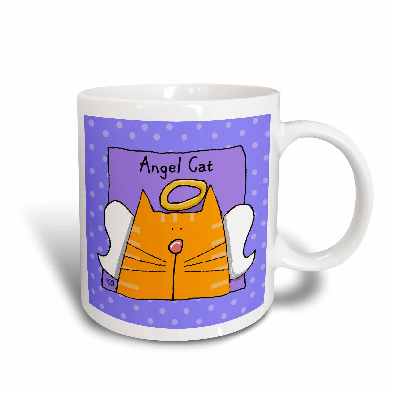 3dRose Angel Orange Tabby Cat Cute Cartoon Pet Loss Memorial , Ceramic Mug, 11-ounce