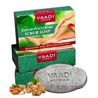 Vaadi Herbals Elbow Foot Knee Scrub Soap with Almond and Walnut Scrub, 75g x 3
