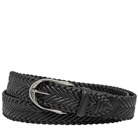 Ermenegildo Zegna Black Braided XXL Calfskin Leather Belt- Black (Zegna Calfskin Belt)