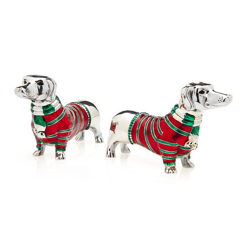Dachshund Silver-Plated Dog Salt & Pepper Shakers with Red and Green Sweaters, Set of 2 by Godinger