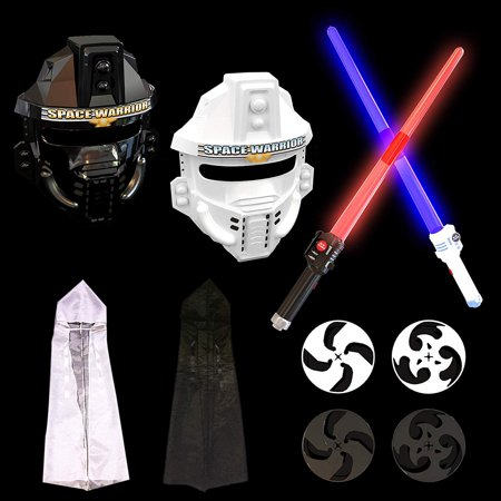 Lightsaber Costume Kit LED Laser Sword Set Star Space War Warrior Fighter Kid's Hero Role Play for Cosplay Fun Halloween Gift F-152 (Voice Play Halloween)