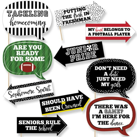 Funny Homecoming - Football Themed School Dance Photo Booth Props Kit - 10 Piece](Paris Themed Photo Booth)