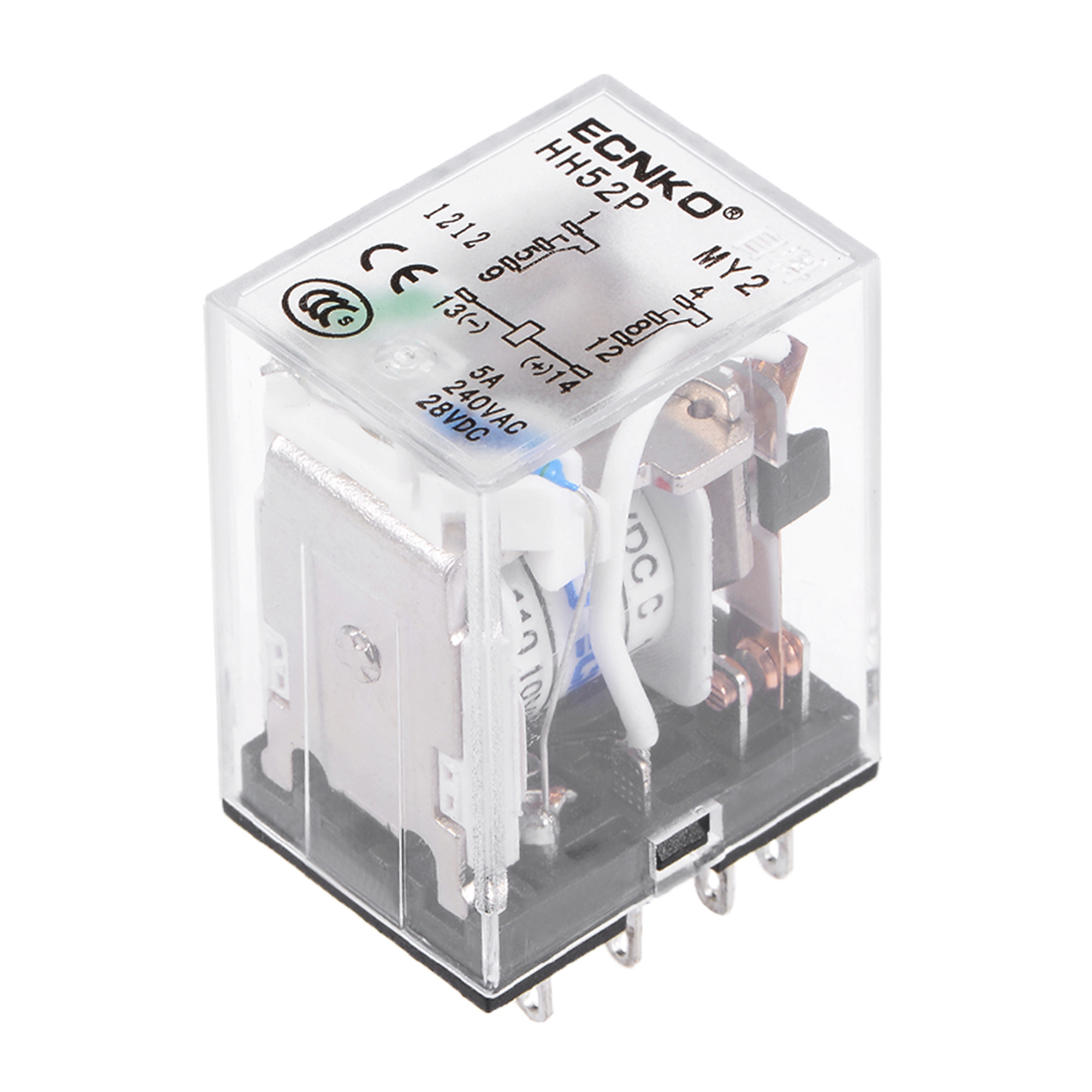 HH52P DC 36V Coil DPDT 8 Pins Electromagnetic Power Relay Green LED - image 3 de 3