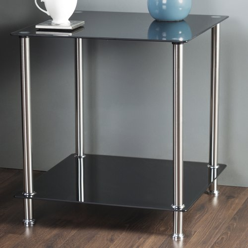 AVF 2-Tier Side/End/Lamp Table, Black Glass and Chrome, T52-A