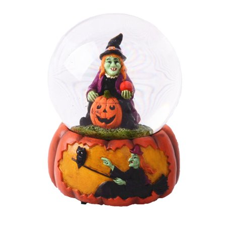 Lightahead® 100MM Polyresin Halloween Witch on a Pumkin Water Globe with music playing PUPPET FUNERALl MARCH Waterball Table Top Decoration](Long Playing Halloween Music)
