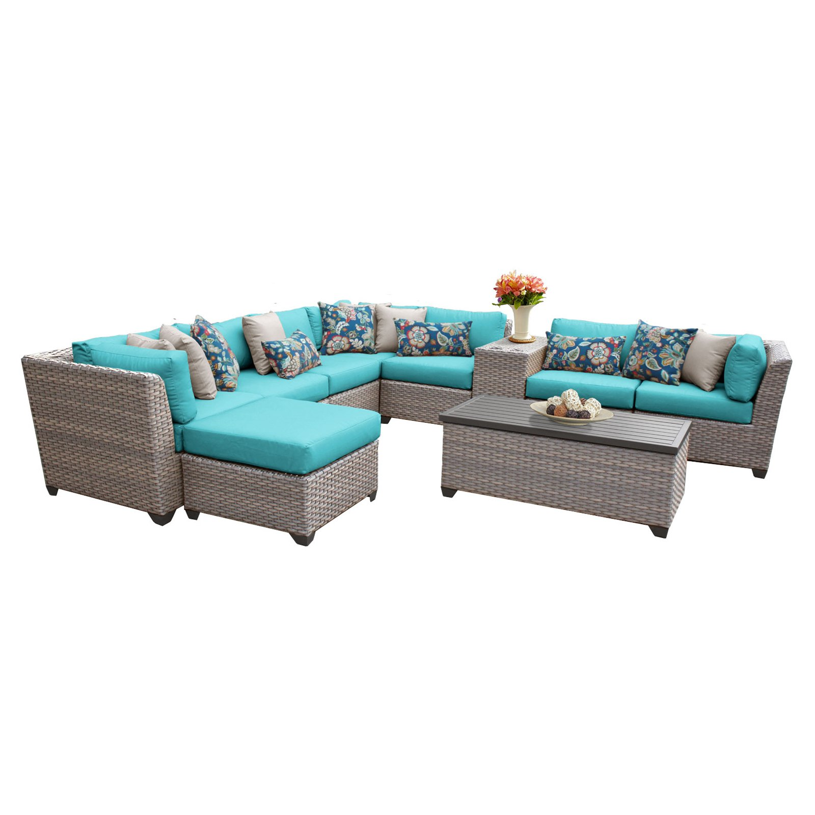 TK Classics Florence Wicker 10 Piece Patio Conversation Set with Ottoman and 2 Sets of Cushion Covers by Delacora