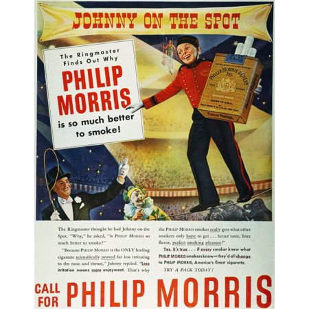 Philip Morris Cigarette Ad Nan Advertisement For Philip Morris Cigarettes That Appeared In An American Magazine 1947 Poster Print By Granger Collection