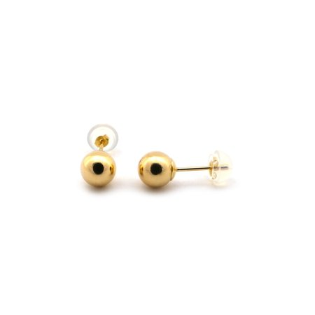 14k Yellow, White or Rose Gold Ball Stud Earrings with Jellybacks - 2, 3, 4, 5, 6, 7, 8, 9, 10,