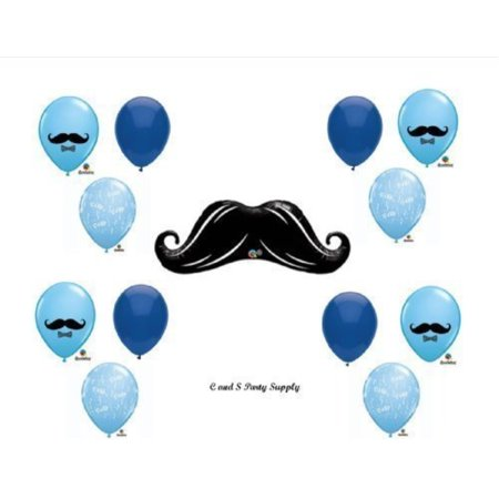 Baby Shower Balloon Decorations (LITTLE MAN MUSTACHE BABY SHOWER Balloons Decorations Supplies....13 pieces! by)
