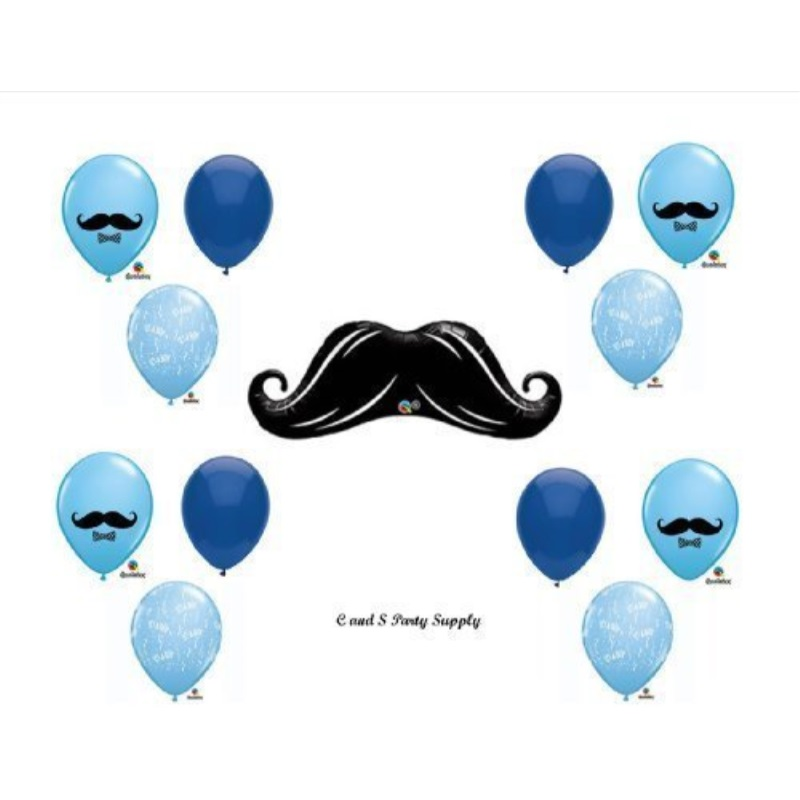 LITTLE MAN MUSTACHE BABY SHOWER Balloons Decorations Supplies....13 pieces! by Anagram