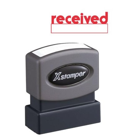 Xstamper 1223 Receved with Space for Initial or Date, Pre Inked Laser Engraved Rubber Stamp, Red Ink, Impression Size: 1/2 x 1-5/8
