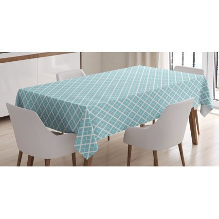Aqua Tablecloth, Ocean Themed Pattern Swirled Waves Seascape in Oviform Maritime Surfing Decor, Rectangular Table Cover for Dining Room Kitchen, 60 X 90 Inches, Light Blue White, by Ambesonne