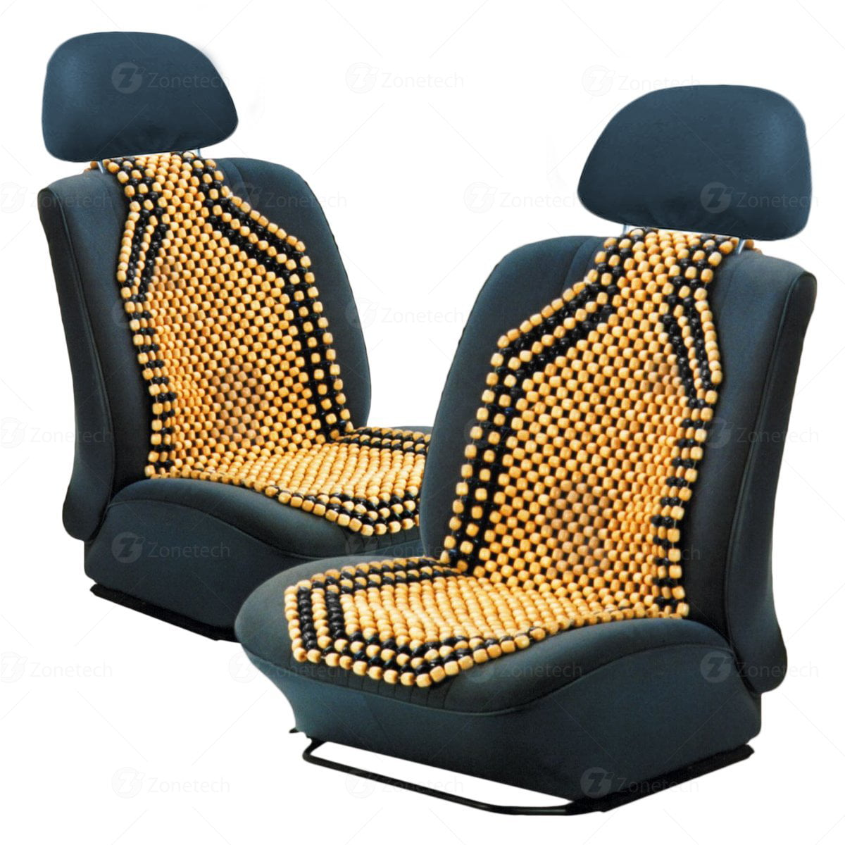 Reduces Fatigue the Car or Truck or your office Chair Zone Tech Natural Royal Wood Bead Seat Cover Massage Cool Premium Comfort Cushion