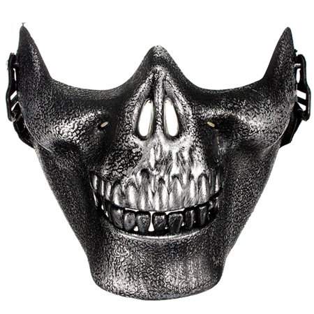 CAMTOA Airsoft Half Face Protective Skeleton Skull Gear Mask For Game War Hunting ,Silver color - Half Skull Face Halloween
