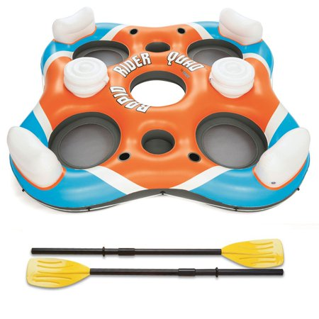 Bestway 101-Inch Rapid Rider 4-Person Floating Island Raft w/ Coolers & (Best Way To Burn Leaves In A Barrel)