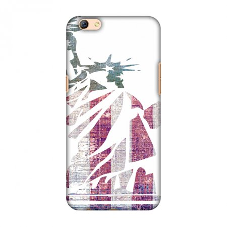 Oppo R9s Case - Statue of liberty- USA flag, Hard Plastic Back Cover, Slim Profile Cute Printed Designer Snap on Case with Screen Cleaning Kit (Statue Of Liberty Dress)
