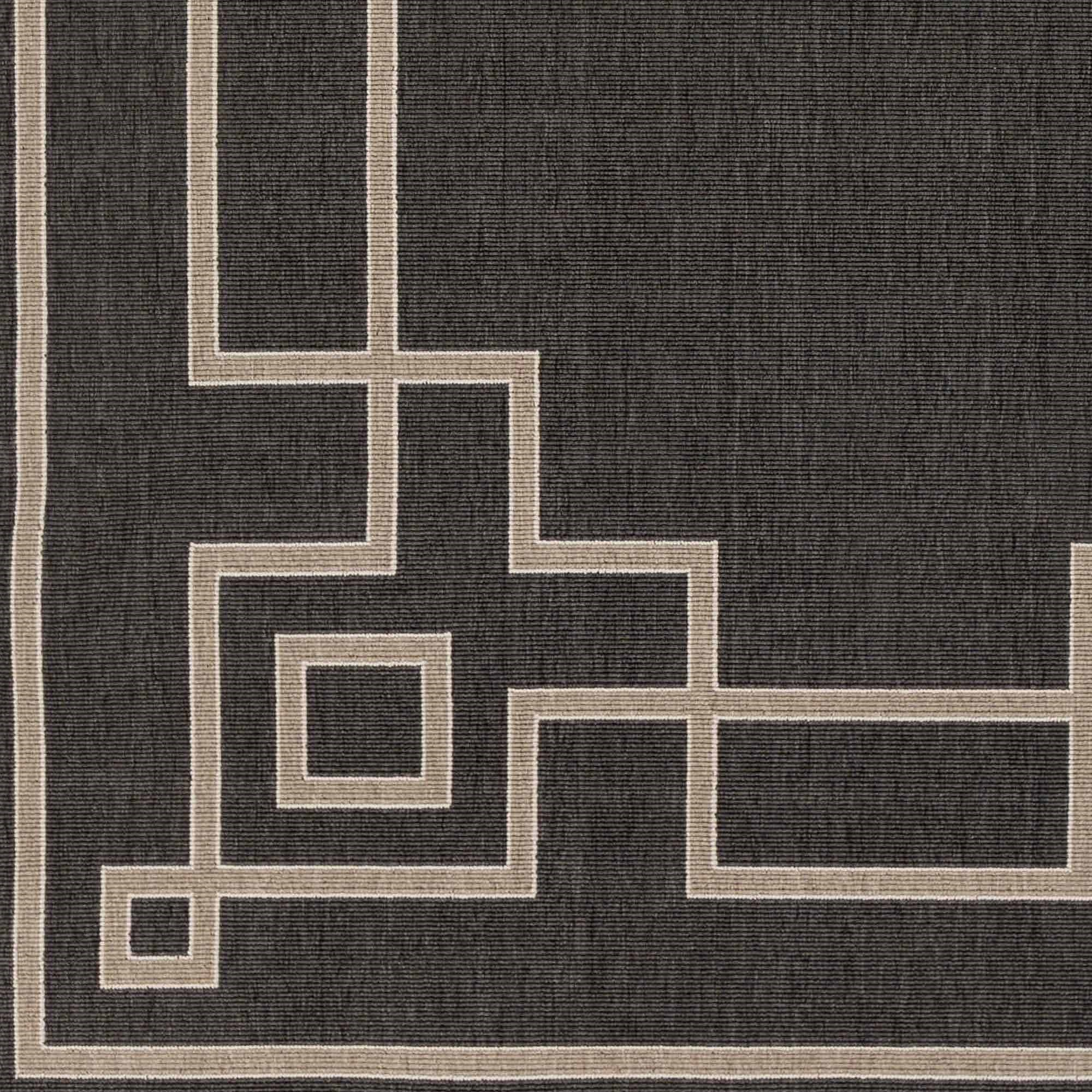 Art of Knot Luxor Machine Made Greek Key Border Indoor/Outdoor Runner, Black