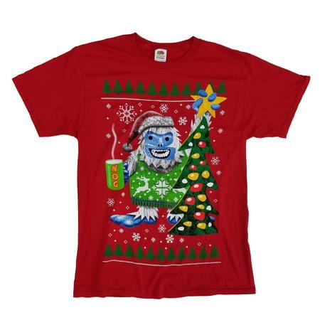 Fair Isle Tie (Mens Red Yeti Eggnog Christmas Tree Fair Isle Holiday)