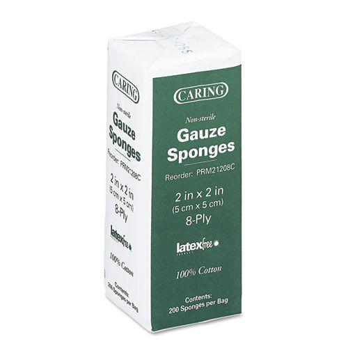 Caring Woven Gauze Sponges, 2 x 2, NonSterile, 8-ply, 200 Sponges/Pack