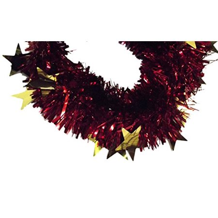 8ft Holiday Christmas Tinsel Garland (Red & Gold Stars)