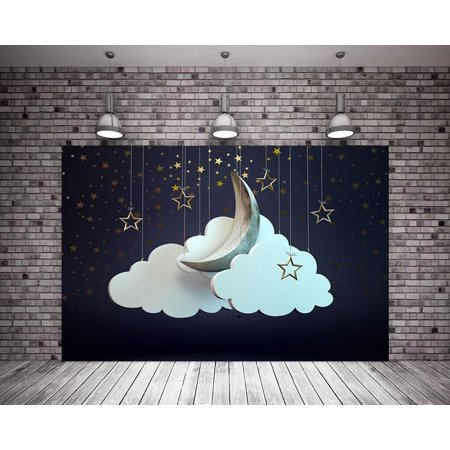 HelloDecor Polyster 7X5ft Photo Studio Newborn Photography Backdrop Background Stars Moon and Clouds](Full Moon Background)