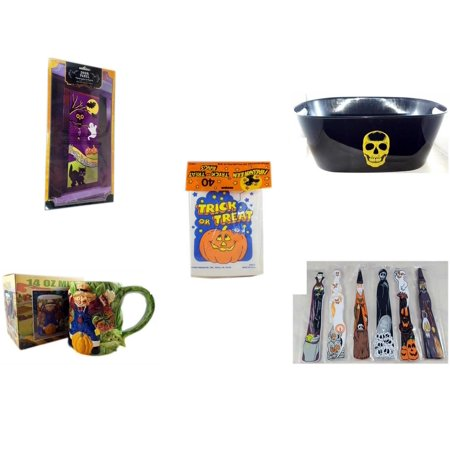 Halloween Fun Gift Bundle [5 Piece] - Happy  Door Panel - Black With Skeleton Oval Party Tub -  Trick or Treat Bags 40/ct - Earthenware Scarecrow & Harvest Design Mug 14 oz. -  Wooden Craft Stick Fi
