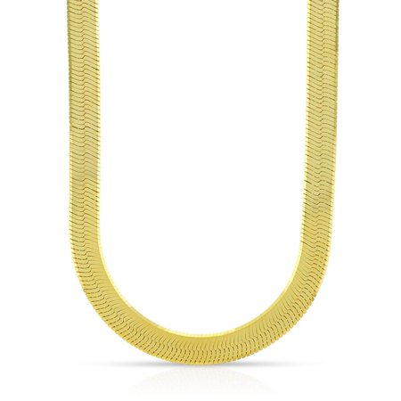 14k Yellow Gold 6mm Imperial Herringbone Chain Necklace 18