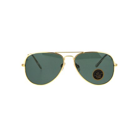 Mens Tempered Glass Lens Metal Wire Rim Classic Police Aviator Sunglasses Gold (Police Sunglasses)