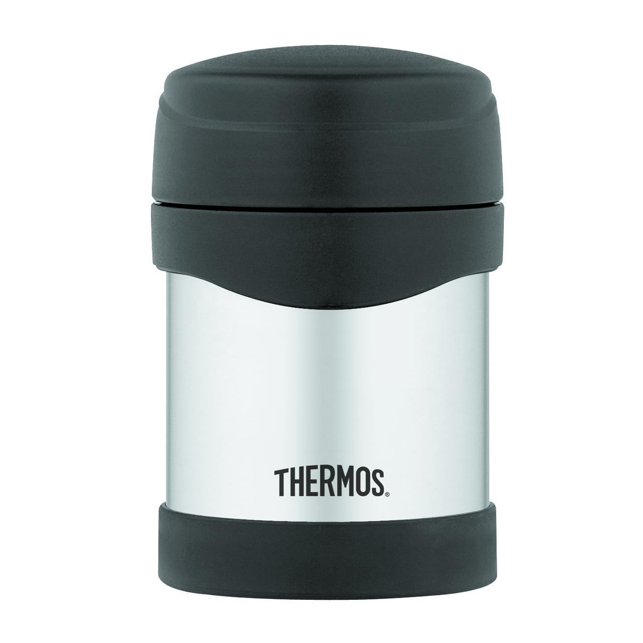 thermos 10 oz stainless steel food jar black flask coffee soup vacuum sealed new ebay. Black Bedroom Furniture Sets. Home Design Ideas