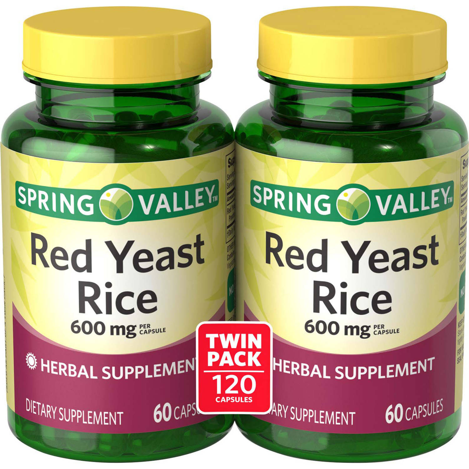 Spring Valley Red Yeast Rice Dietary Supplement Capsules, 600 mg, 60 count, 2 pack