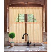 K66 ORANGE 3 PC Luxurious Sheer Organza Kitchen Rod Pocket Window Curtain Treatment Set Beautiful Solid Tier Panels with Matching Valance Swag 262151431558