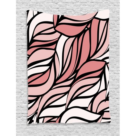 Coral Tapestry, Digital Curving Mix Twisted Forms with Tangled Lines Knotty Color Illustration Image Print, Wall Hanging for Bedroom Living Room Dorm Decor, Coral, by Ambesonne ()