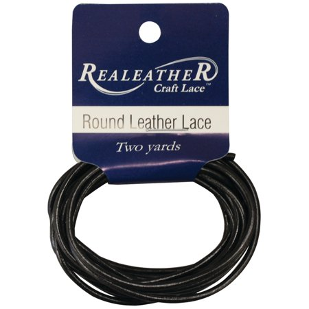 Realeather Round Leather Lace, Black, 2mm x - Leather Lace Com