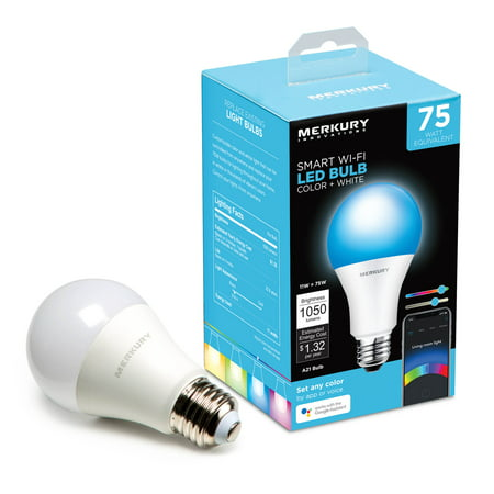 Merkury Innovations A21 Smart Color Light Bulb, 75W Equivalent, Requires 2.4 GHz Wi-Fi