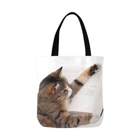 Cute Reusable Grocery Bags (ASHLEIGH Cute Little Cat Reading a Book Reusable Grocery Bags Shopping Bag Canvas Tote Bag Shoulder)