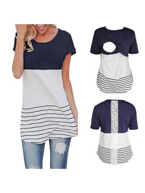 Fashion Women Maternity Clothes Breastfeeding T-Shirt nursing Lace Tops For Pregnant Tee