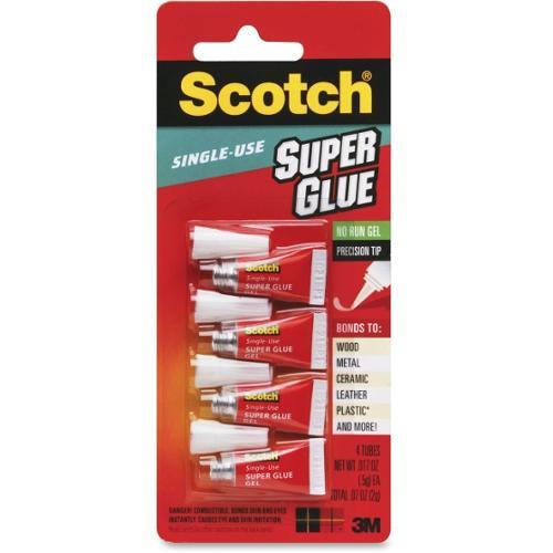 Scotch Single Use Super Glue - 0.02 oz - 4 / Pack