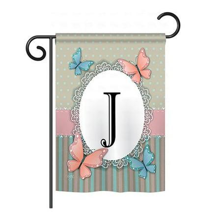 Breeze Decor Butterflies Monogram 2-Sided Vertical