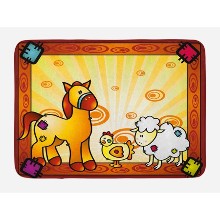 Motion Zoo (Kids Bath Mat, Animal Friend Chicken Sheep and Horse with Patch Motif Zoo Joyful Cartoon Print, Non-Slip Plush Mat Bathroom Kitchen Laundry Room Decor, 29.5 X 17.5 Inches, Red Orange Yellow, Ambesonne)
