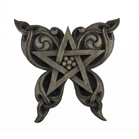Stone Finish Butterfly Pentacle Wall Plaque Pagan Wicca
