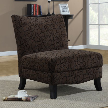 Monarch Straight Back Swirl Fabric Accent Chair Brown