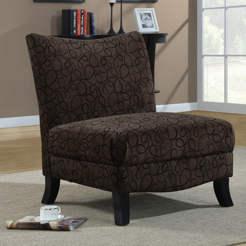 Monarch Straight Back Swirl Fabric Accent Chair - Brown